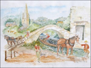 The 'Boaty' by Elizabeth Noble of West Deeping, 2013. A water colour painted during the 'boaty' project. It is an impression of the  working canal crossing King Street, West Deeping.