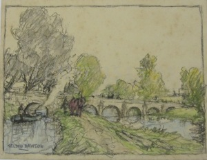 Crayon Drawing of Stamford Canal at Uffington Bridge. A reconstruction by Nelson Dawson 1930s